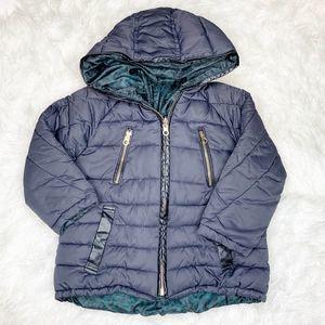 Zara Girls Reversible Navy Green Puffer Coat Sz 5